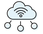 Cloud and connected icon